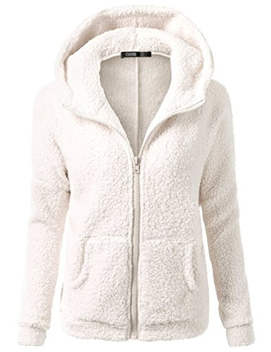 Sueetyus Womens Full Zip Up Sherpa Fleece Hoodie Jacket Coat Winter Warm Outwear White Large by Sueetyus