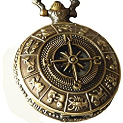 Vintage Brass Zodiac Pocket Watch with Compass Necklace Tweleve Constellation Navigation Watch Necklace