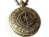 Vintage Brass Zodiac Pocket Watch with Compass Necklace Tweleve Constellation Navigation Watch Necklace