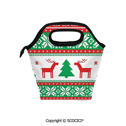 Lightweight Portable Picnic tote lunch Bags Knit Style Graphic Reindeer Star Snowflake Holiday Family Decor lunch bag for Employee student Worker. (Advantage Knit Pique)