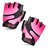 Ezyoutdoor Unisex Pink Half Finger Cycling Gloves with Light Silicone Gel Pad For for Cycling MTB Exercise Skate Skateboard Roller Skating (Small)