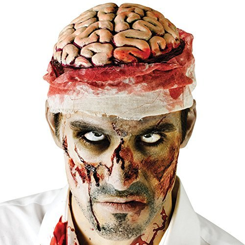 Mental Patient Halloween Costume (Zombie Brains Gruesome Halloween Headwear Mental Patient Bloody Costume Cap)