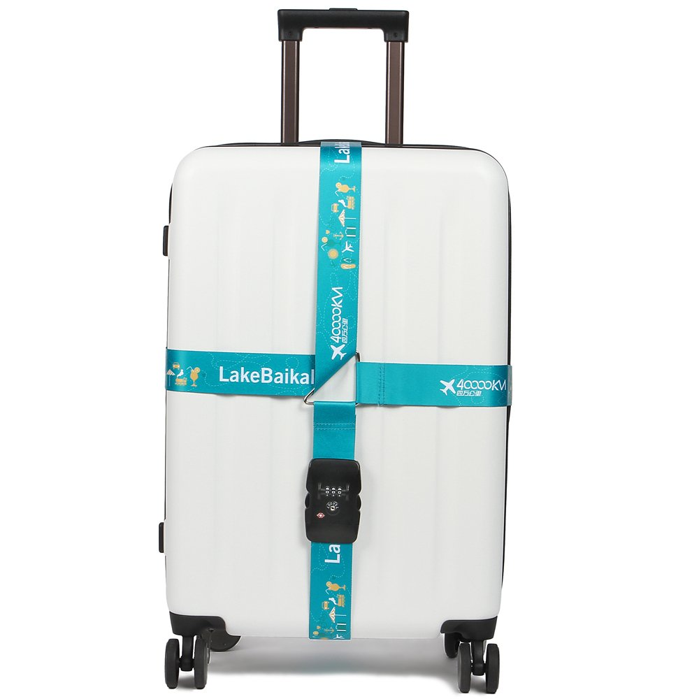 40000KM TSA Approved Luggage Straps 3-dial Lock Adjustable Suitcase Belts Cross 157'' -Blue