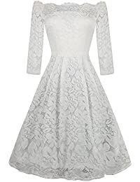 Women's Off Shoulder Lace Stretch Cocktail Party Casual Swing Dress OX228
