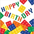 Block Party Lot de 16 serviettes en papier avec inscription Happy Birthday