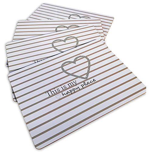 """The HAPPY PLACE Heart and Striped Placemats, Set of 4, Cork Backed Board, Heat Resistant, Rustic Home Style, 16 x 11 ¼"""" By Whole House Worlds"""