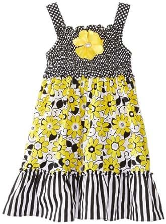 Youngland Little Girls' Mixed Print Sundress, Yellow/Black, 3T