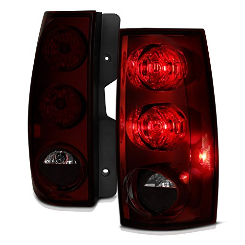 VIPMOTOZ For 2007-2014 Chevy Tahoe Suburban GMC Yukon XL 1500 2500 OE-Style Smoke Red Lens Tail Light Housing Lamp Assembly Replacement Driver & Passenger Side