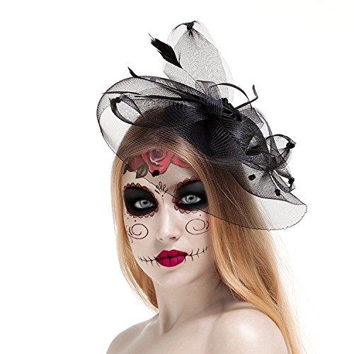 Beauxbatons Halloween Costume (Valdler Halloween Black Costume Feather Net and Veil Fascinator Hair Clip Hat Hair Accessories Clip for Festival)