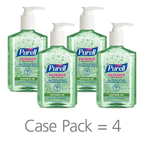 (PURELL Advanced Hand Sanitizer Soothing Gel for workplaces, Fresh Scent, with Aloe and Vitamin E- 8 fl oz Pump Bottle (Pack of 4) - 9674-06-EC)