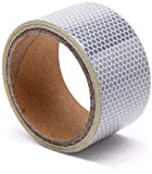 High Intensity Reflective Tape White and Silver 3''X5',Waterproof Self-Adhesive Glass Beads PET Tape-Reflective Tape for Trucks,Trailers,Cars-Conspicuity Tape-Cinta reflectante