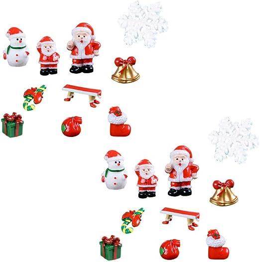 Healifty 20 Piezas miniaturas de Navidad Mini Figuras de muñeco de Nieve de Santa jardín de Hadas casa de muñecas Decoraciones de Navidad Accesorios: Amazon.es: Hogar