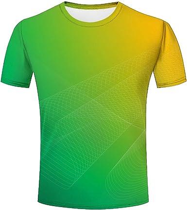 Color Amarillo Verde 3D Camisetas para Hombres Unisex Impreso ...