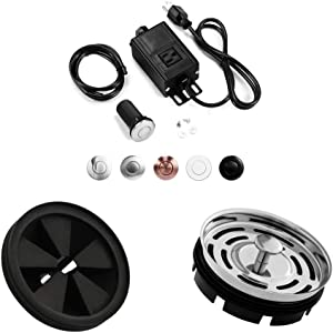 Garbage Disposal Air Switch Kit with Long Brushed Button,Splash Guard Collar Sink Baffle,Kitchen Sink Stainer Group,3 3/8 inch