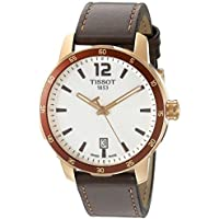 Men's 'Quickster' Swiss Quartz Stainless Steel and Leather Watch, Color:Brown (Model: T0954103603700)