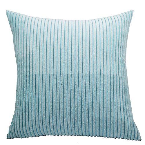 Kaimao Square Throw Pillow Cover Corduroy Striped Cushion Case For Decorative Home Sofa Bedroom, 24 x 24 inch, Sky Blue