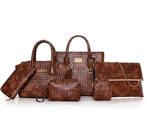 Lxyiun Capacity brown Women's Diagonal Leather New Mother Package Bag retro Fashion Handbag Wallet Zipper Six Set Large piece Package Card Suit Pu rrpqP1wgdU
