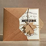 5x7 Rustic Wedding Invitations, Unique Wedding Cards with Invitation Envelope - Set of 50 pcs
