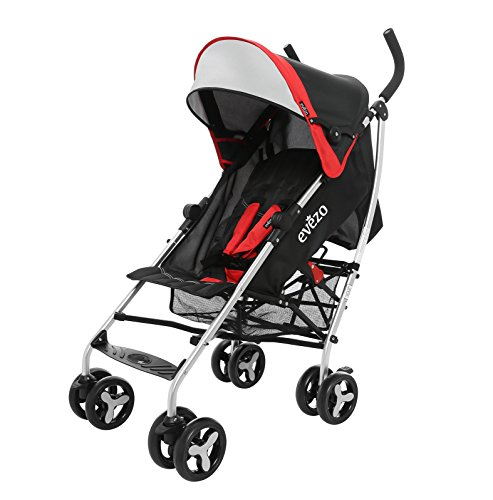 Cheap Evezo Maxord 3-Position Reclining Lightweight Stroller with 5-Point Harness, Auto-Lock, Compact Fold, Red