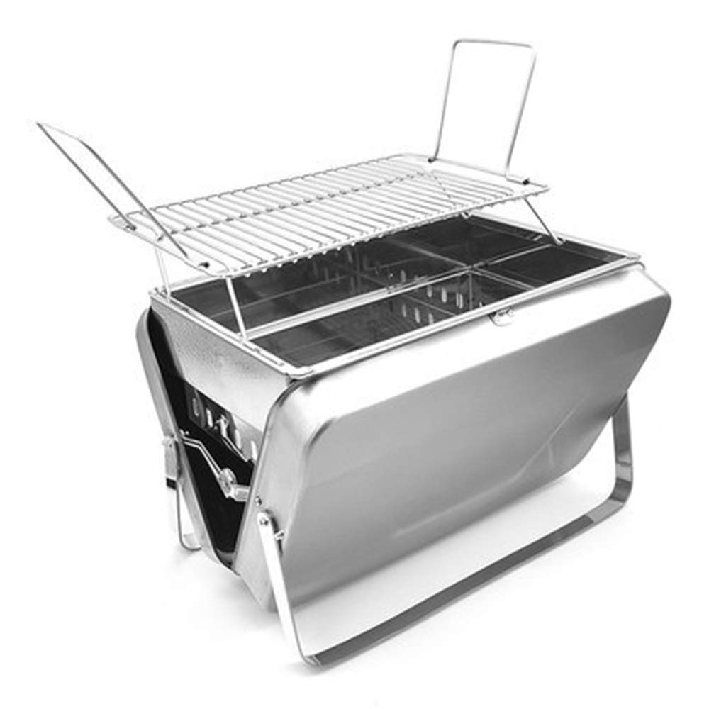 Grille en Acier inoxydable pliante Portable d'extérieur, Barbecue à Charbon de Bois, outil de Barbecue Sauvage 5 personnes ZDDAB