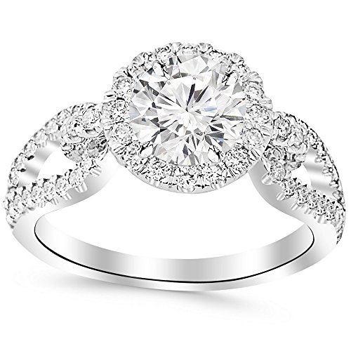- 1.75 Ctw Round Halo Style Split Shank Love Knot 14K Yellow Gold Diamond Engagement Ring (H-I Color SI1-SI2 Clarity 1 Ct Center)