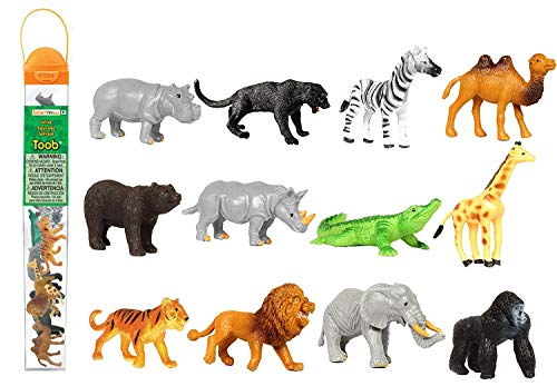 Camel Miniature - Safari Ltd Wild TOOB With 12 Great Jungle Friends, Including a Giraffe, Brown Bear, Tiger, Camel, Lion, Crocodile, Gorilla, Hippo, Rhino, Zebra, Panther and Elephant (Discontinued by manufacturer)