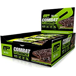 MusclePharm Combat Crunch Protein Bar, Chocolate Cake, 12 Bars