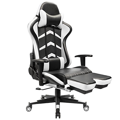 Ergonomic Executive Computer (Furmax Gaming Chair High Back Racing Chair, Ergonomic Swivel Computer Chair Executive PU Leather Desk Chair With Footrest, Bucket Seat and Lumbar Support (White))