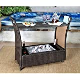 Bar Cart Stella Collection Multi-toned Brown Wicker with Sturdy Aluminum Frame Construction, Great for Outdoor Space