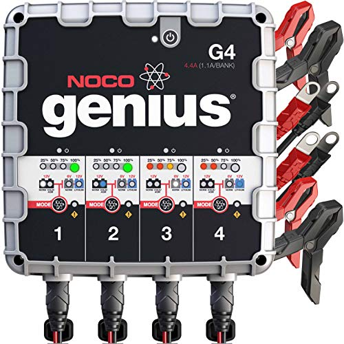 NOCO Genius G4 6V/12V 4.4A 4-Bank UltraSafe Smart Battery - International Silver Plymouth