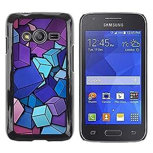 TopCaseStore / la caja del caucho duro de la cubierta de protección de la piel - Pink Purple Blue Cubes Pattern - Samsung Galaxy Ace 4 G313 SM-G313F