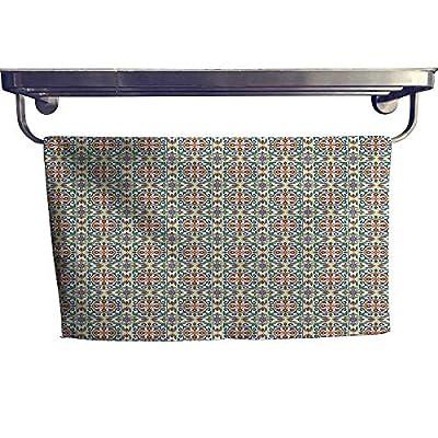 """alisoso Geometric Large Hand Towels Set Spanish Culture Inspired Ornamental Symmetric Floral Arrangement Vivid Palette Gym Hand Towels Set W 10"""" x L 10"""" Multicolor"""
