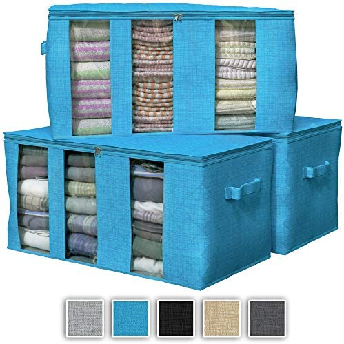 NEATERIZE 3 Compartments Storage Bags | Large Capacity Closet Storage Organizer with Reinforced Handles & Zipper | Fabric Clothes Organization and Storage Bins with Lids for Clothing [Aqua Blue]