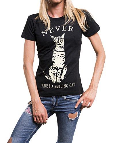 A CAT NEVER Nero T TRUST SMILING nera Maglietta gatto shirt donna 5Btgftqwx