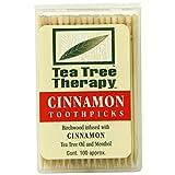 Tea Tree Therapy Birchwood Toothpicks with Cinnamon Oil 100 Ct
