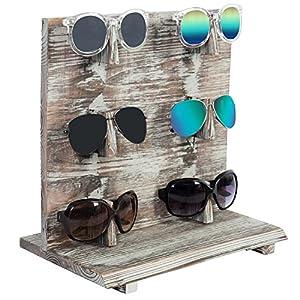 6-Pair Country Rustic Wood Sunglasses Display Rack Stand, Shabby Chic Retail Eyewear Holder