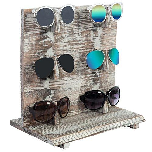 6-Pair Country Rustic Wood Sunglasses Display Rack Stand, Shabby Chic Retail Eyewear - Stand Holder Sunglasses