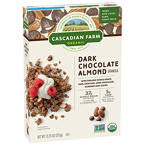Cascadian Farm Organic Granola, Dark Chocolate Almond Cereal, 13.25 Oz (Pack of 6)