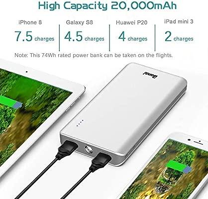 BONAI Bateria Externa para Movil 20000mAh Power Bank 2 Mirco Entradas y 2 Salidas (2.4A) Cargador Portátil Alta Capacidad con Linterna para ...