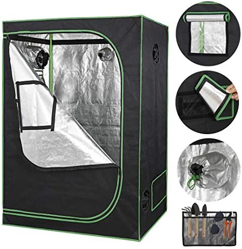 HANGKAI 48 x 24 x 60 Home Grow Tent,Hydroponic Plant Growing Room w Observation Window and Inner Tool Bag 600D Highly Reflective Fabric Cover Indoor Grow Room