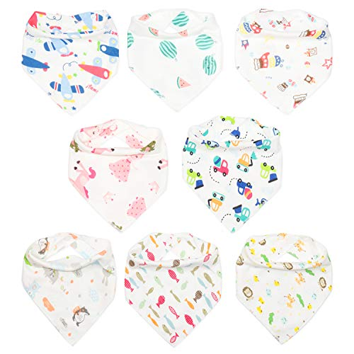 Baby Bibs for Boys and Girls,baby bandana drool bibs 8 Pack Soft absorbent and hypoallergenic, teething bib for 0-24 months