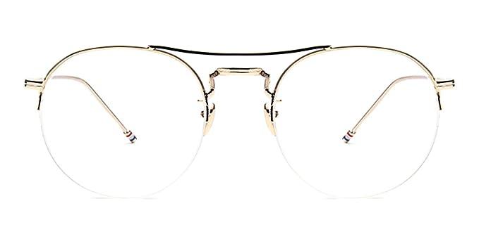 64b5b486e049 Slocyclub Unisex Semi-Rimless Round Metal Frame Double Bridge Eyeglasses