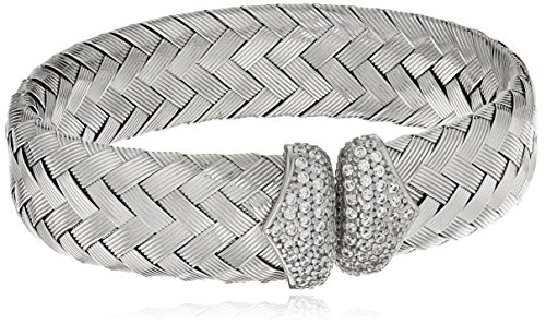 Sterling Silver Rhodium Plated Woven Cuff Bangle Bracelet With CZ End Caps by Amazon Collection