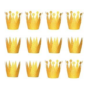 LUOEM 12 UNIDS Oro Corona Sombreros Glitter Cumpleaños ...