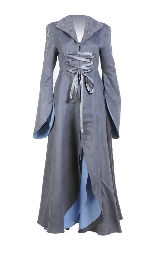 Womens Cosplay Grey Long Trench Coat Halloween Dress (Woman-L, Grey)
