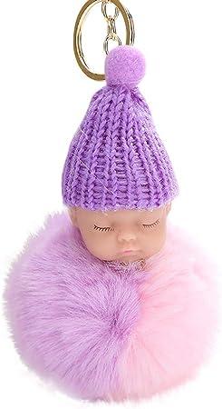 Bargain Sleeping Baby Doll Keychains Faux Fur Fluffy PomPom Keyring Bag Pendant