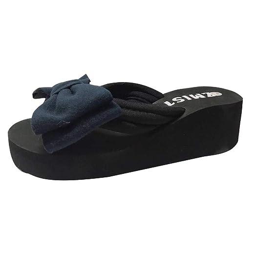LILICAT ✈✈ 2019 Chanclas de tacón Alto para Mujer Moda Pajaritas Flores Zapatillas Sandalias de Arco de Verano para Mujer Zapatillas de Playa Plataforma ...