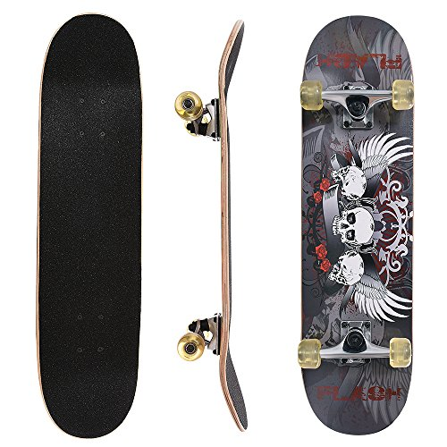 - ChromeWheels 31 inch Skateboard Complete Longboard Double Kick Skate Board Cruiser 8 Layer Maple Deck for Extreme Sports and Outdoors, Gray