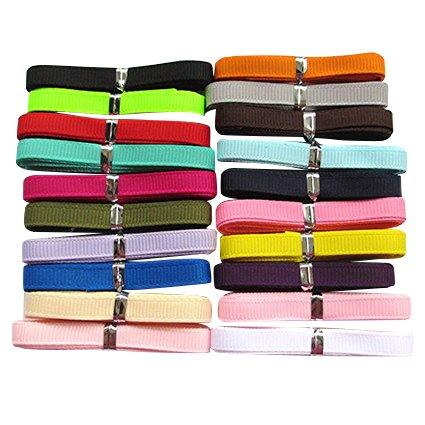 (Chenkou Craft Assorted of 20 Yards Grosgrain Ribbon Total 20 Colors Mix Lots Bulk (1/4