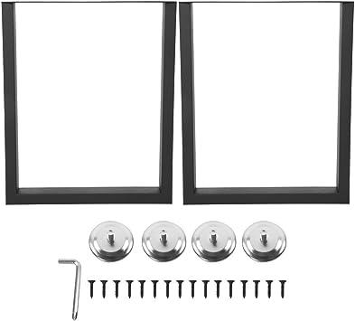 2 x Pies Rectangulares Metal para Mesa, Patas de Muebles de Acero ...
